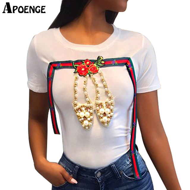 APOENGE T-shirt Femme Womens Fashion Pearl Beading Shoes Funny T-Shirt European Style Short Sleeve Flower Tee Shirt Tops QN652