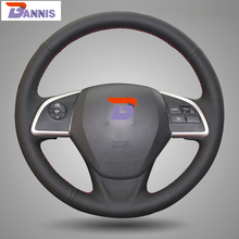 BANNIS Black Artificial Leather DIY Hand-stitched Steering Wheel Cover for Mitsubishi Outlander 2013 2014 Mirage 2014 ASX