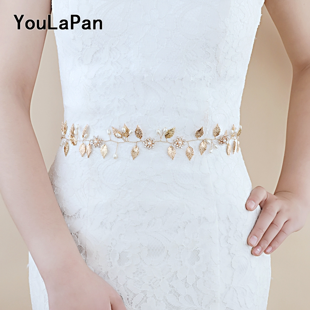 YouLaPan SH110 Thin Belts Women Belt Wedding Belt Wedding Sash Vine Bridal Belts Crystals Bridal Sash Wedding Accessories