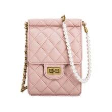 2019 New famous brand summer pearl chain diamond lock bag  mobile phone bag fashion solid shoulder messenger bag for women цена