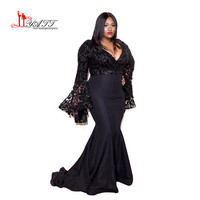 2016 Grammy Awards Plus Size Celebrity Dresses Long Sleeves Jazmine Sullivan In Sequined Prom Gowns Black