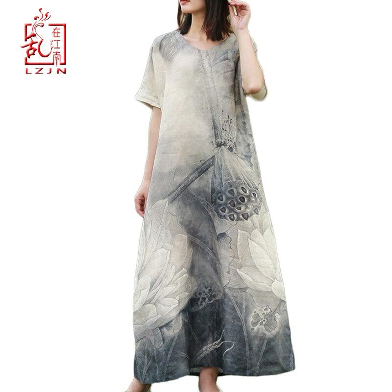 LZJN 2019 New Summer Women Retro Black Grey Lotus Print Short Sleeve Cotton Linen Dress Loose