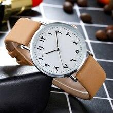 2018 BGG бренд черный, белый цвет для влюбленных Пара Часы уникальные арабские цифры кожаным ремешком Для мужчин Для женщин кварцевые наручные часы часов