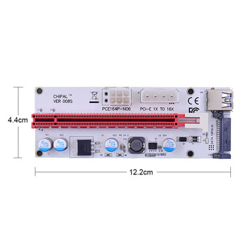 CHIPAL VER008S 60CM 100CM PCI-E Riser Card 008S PCI Express 1X to 16X Extension 4Pin 6Pin 15Pin SATA Power LED for Video Card 2