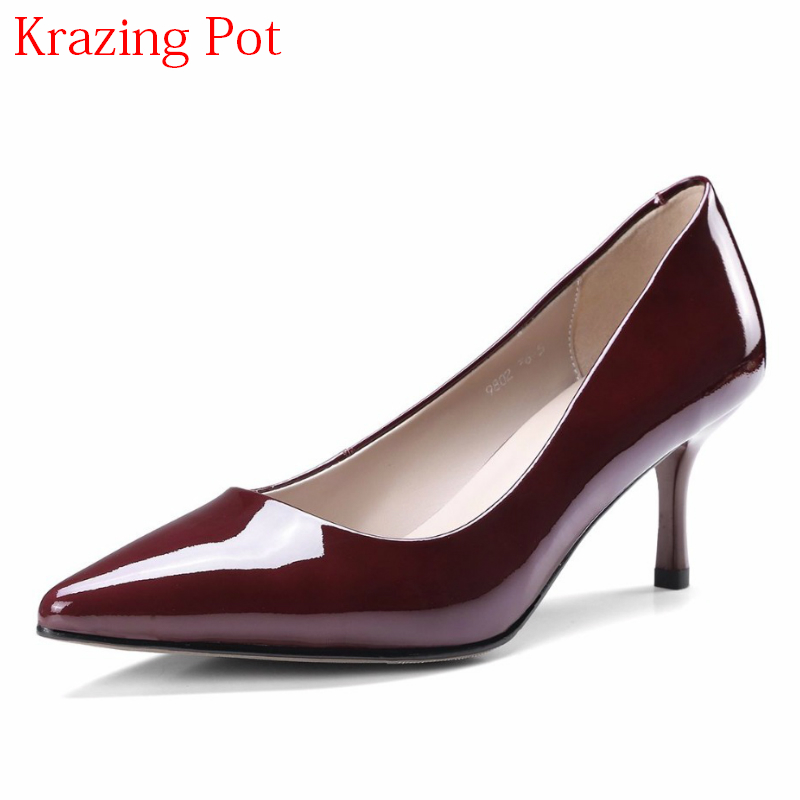 2018 Genuine Leather Fashion Brand Spring Shoes Office Lady Pointed Toe High Heels Solid Women Pumps Wedding Nightclub Shoes L05 fashion new spring summer med high heels good quality pointed toe women lady flock leather solid simple sexy casual pumps shoes