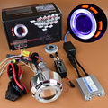New Motorcycle Headlight HID Bi-xenon Projector Lens Kit With Double Angel Eyes Halo Demon Eyes For Suzuki Yamaha Kawasaki Honda