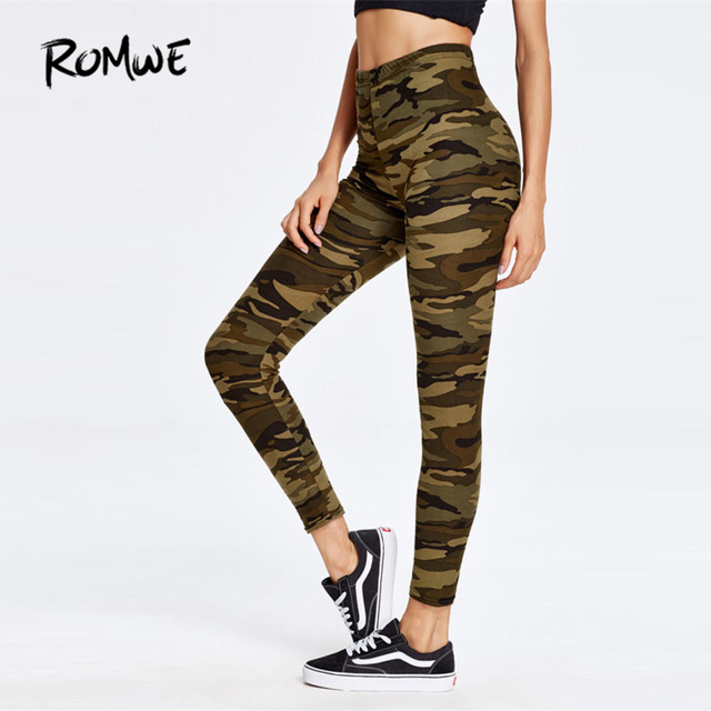ROMWE Camouflage Print Ankle Leggings 2017 New Fashion Multi Crop     ROMWE Camouflage Print Ankle Leggings 2017 New Fashion Multi Crop Women  Clothing Trousers Ladies High Waist