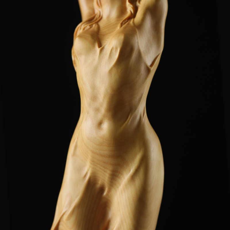 23 ซม.ใหม่ไม้สไตล์จีน HD ความงามหญิงประติมากรรมรูปปั้น Nude Art สัตว์เลี้ยงมือ Boxwood Fairy Miniature งานฝีมือตกแต่ง