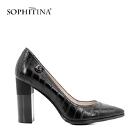 SOPHITINA роскошные женские туфли лодочки из натуральной кожи пикантные острый носок классический супер на высоком каблуке, под платье обувь эл