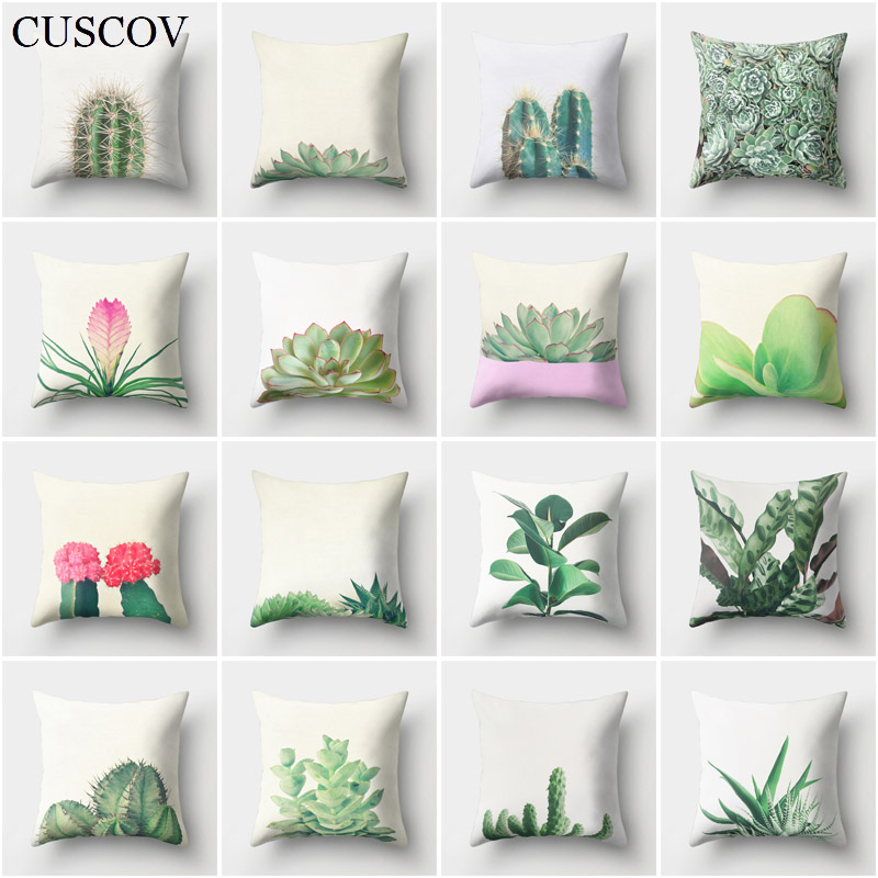 CUSCOV cactus polyester sofa cushion cover desert plant best-selling pillow case stylish home decorative chair