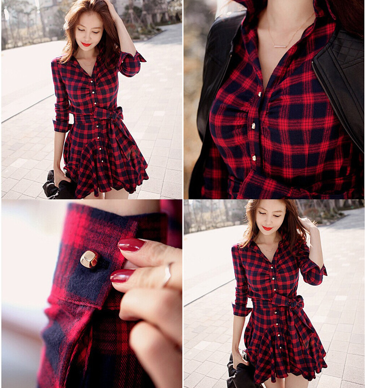 Women's Plaid Dress Long Sleeve V Neck Shirt Dress With Belt Spring - Women's Clothing - Photo 2