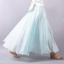 Sherhure 2019 Women Linen Cotton Long Skirts Elastic Waist Pleated Maxi Skirts Beach Boho Vintage Summer Skirts Faldas Saia