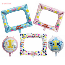 8-Season Happy Birthday Photo Frame Boy Girl 1st  One Year Foil Balloon For Family Party booth Event Decoration