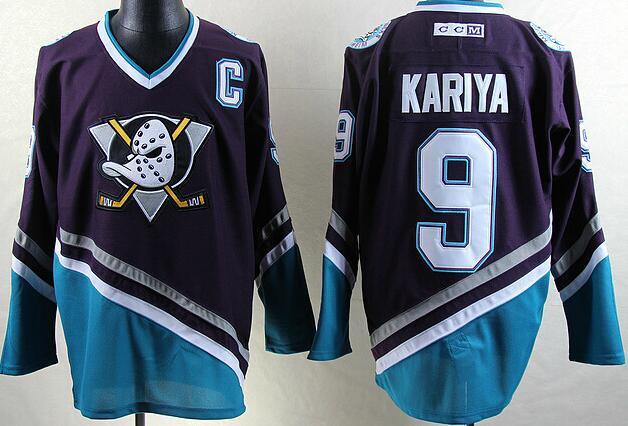 2017 New Mighty Ducks Movie Jersey CCM  9 Paul Kariya Ice Hockey Jersey  Purple Color Best Quality size s-xxxl 74a6c137020