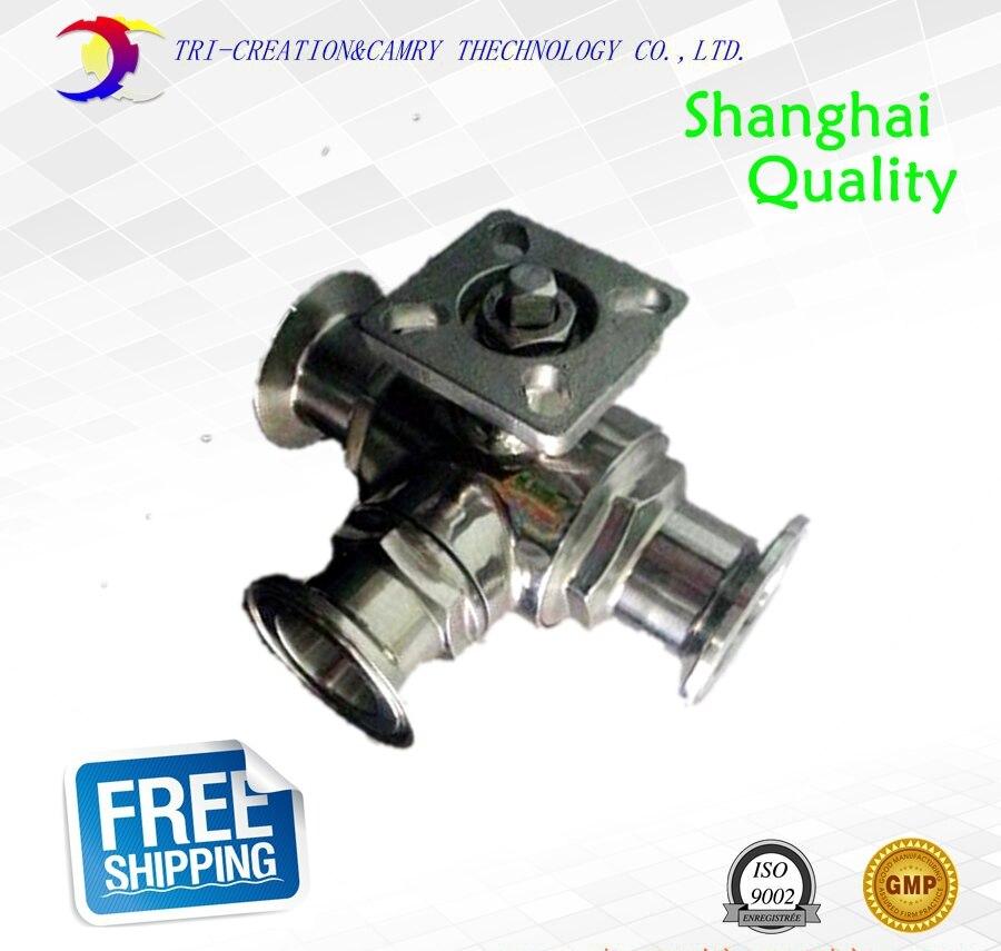 Haute plate-forme en acier inoxydable sanitaire ball valve, 3 voies Quick-installé/qualité alimentaire clamp ball valve_316 T port 1 1/4 DN25 valve