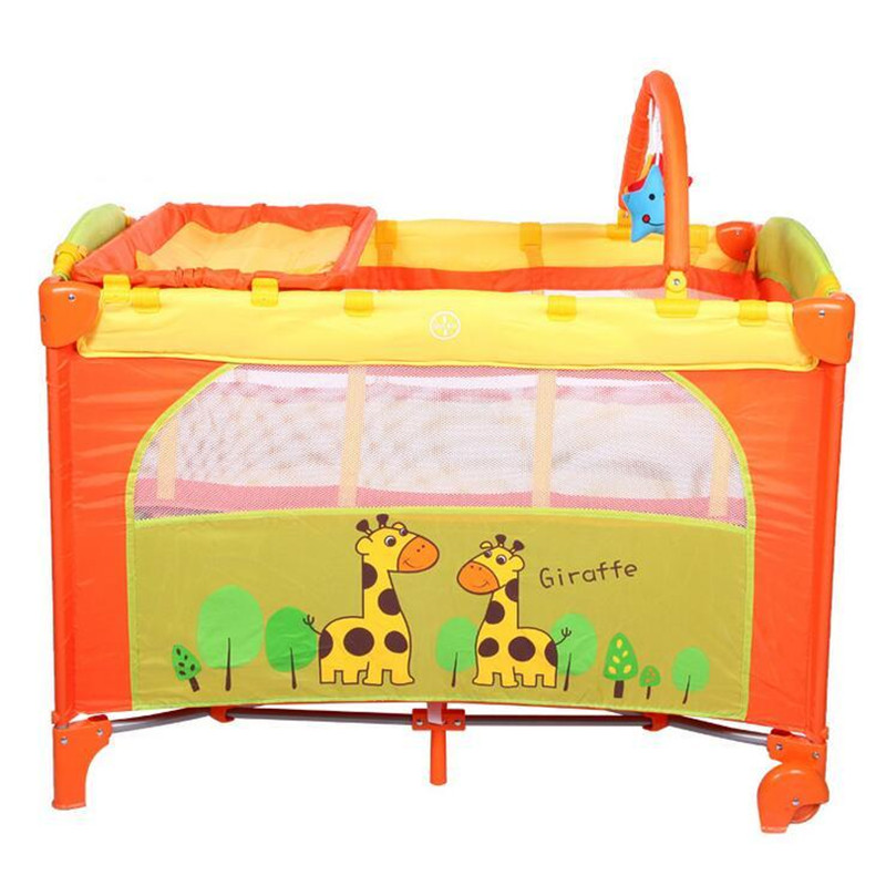 2017 Multifunction Giraffe Cartoon Baby Playpen Crib Portable Folding Baby Bed Supplier Wholesale promotion 6pcs baby bedding set cot crib bedding set baby bed baby cot sets include 4bumpers sheet pillow