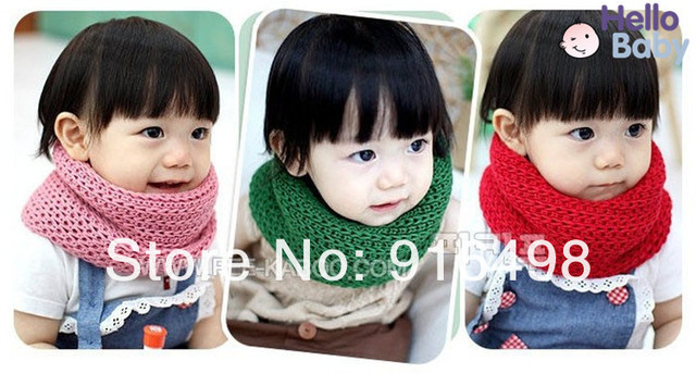 2014 Children set of head scarf bib cute baby wool scarf, scarf wholesale pink red yellow brown free shipping415