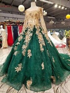 Image 2 - ボールガウン長袖チュール花ビーズグリーン高級イブニングドレス 100% リアルイブニングガウン 2020 Vestido デ · フェスタ KC71