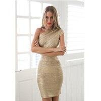 DEIVE TEGER One Shoulder Solid Elegant Party Black Gold Dresses Sleeveless Sexy Mini Sheath Fashion Bandage Dress HL847