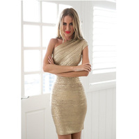 DEIVE TEGER One Shoulder Solid Elegant Party Black Gold Dresses Sleeveless Sexy Mini Sheath Fashion Bandage Dress HL847