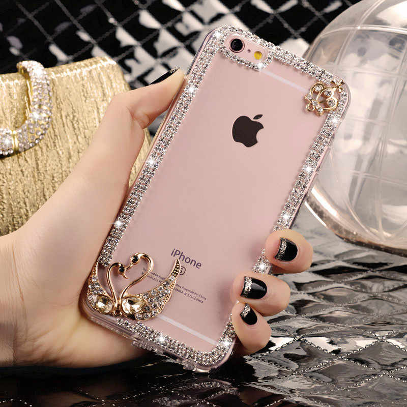 Coque en silicone diamant pour Xiao mi rouge mi 4A 6 6A S2 5 Plus 5A Prime Note 4X4 Pro mi MAX 3 mi A1 A2 Lite 5X 6X housse de Hello Kitty