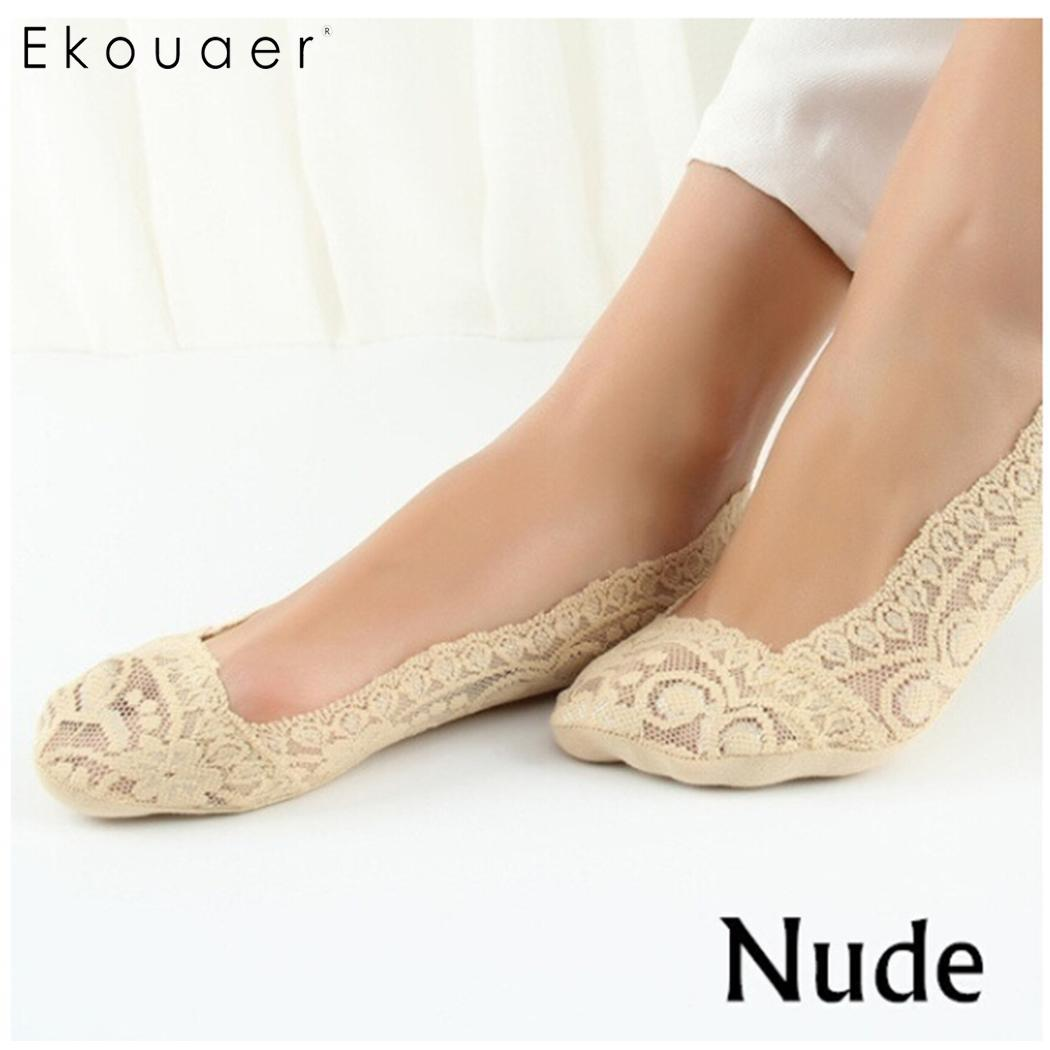Ekouaer 5 Pairs Womens Cotton Lace   Socks   Sexy Antiskid Invisible Liner   Socks   Elastic Female Girls Ankle Boat Low Cut Short   Socks