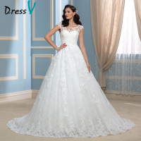 Luxury Lace Wedding Dresses High Quality Real Image Scoop Court Train Robe De Mariage 2016 Newest