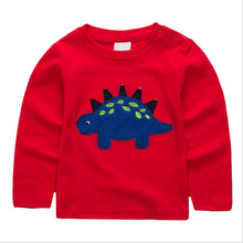 Jumping Kids T-shirts for Boys Cotton animals dinosaur Tops Autumn Children Print Tees Infant O-neck Tshirts Boys Tops T Shirts cheap Full T7493 European and American Style Spandex Cotton jumping meters Fits true to size take your normal size Regular Crew Neck