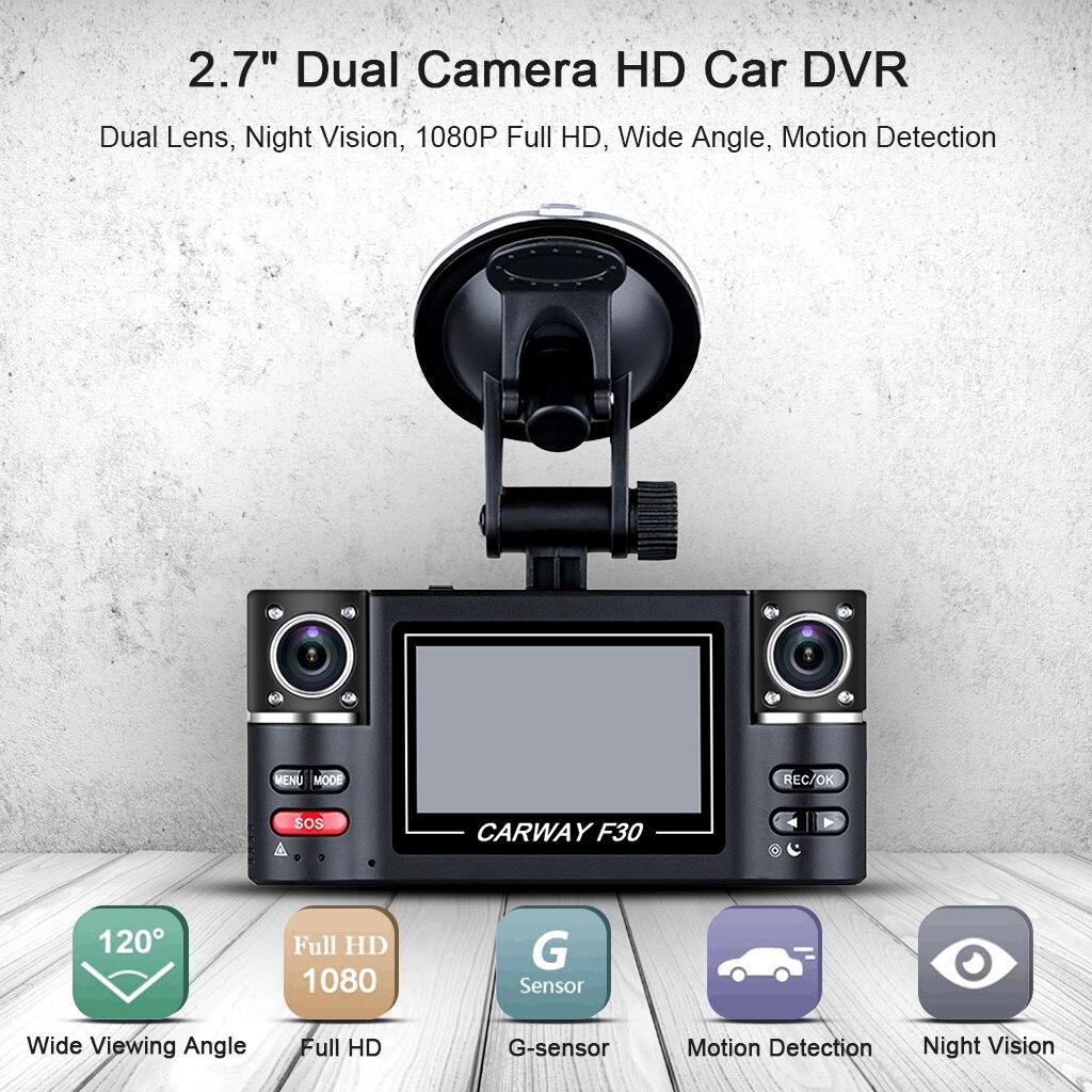 Voiture DVR double lentille voiture véhicule 1080P HD Dash Cam voiture caméra Vision nocturne enregistreur 360 degrés Carway F30 voiture conduite enregistreur 5