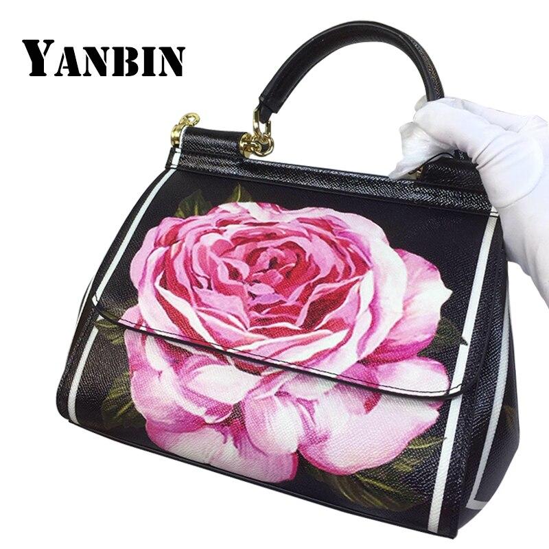 Neue Muster Einzelnen Mode Weibliche Handtaschen Beutel Marke Leder Schulter 2018 Design Black Schräg Arzt Blume Yanbin Straps Pfingstrose Schwarz E5qwI7z