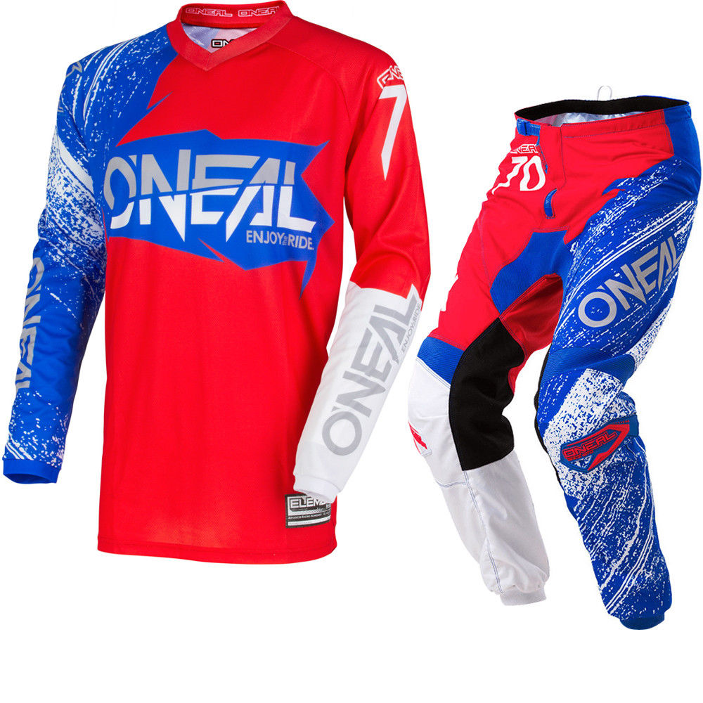 Free shipping 2018 ONeal Element Burnout Motocross MX Jersey & Pants Red White Blue Kit Dirt Bike MTB DH Off-Road Sets
