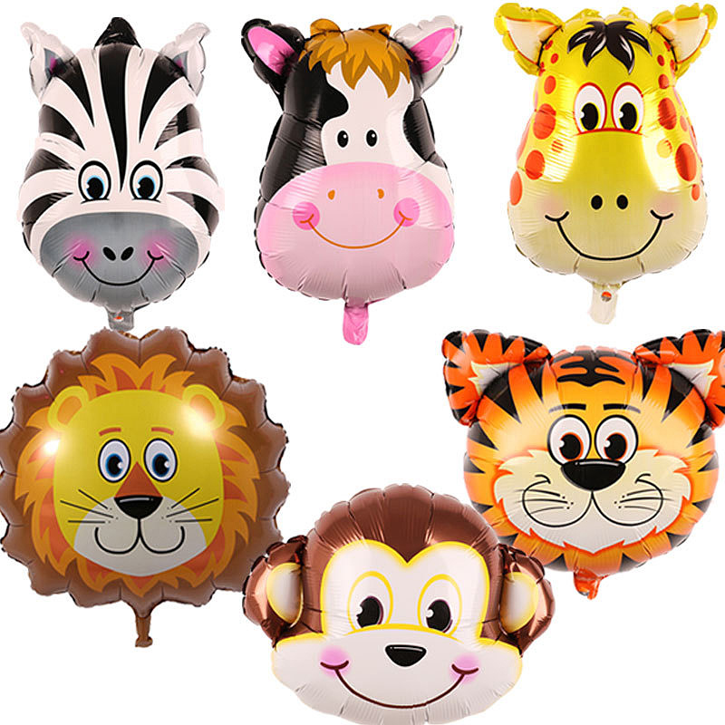 45*64cm Cartoon Animal Head Aluminum Film Balloon Tiger Lion Zebra Cow And Other For Party Decoration