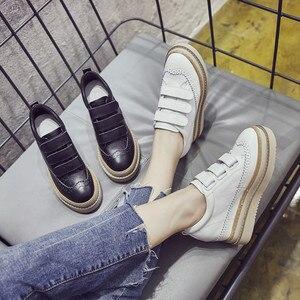 Image 3 - Swyivy Chaussures Lederen Casual Schoenen Vrouw Sneakers Femme 2019 Winter Platform Witte Sneakers Voor Vrouwen Haak Lus Dames Schoen
