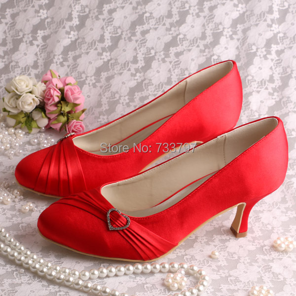 (20 Colors)Custom Handmade Ladies Red Shoes Wedding Medium Heel 6.5CM Closed Toe