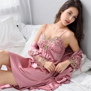 Image 1 - Xifenni Robe Sets Female Sexy Satin Silk Sleepwear Women Night Gown Set With Chest Pad Bathrobe Red Lace Sleeping Dress X8206A