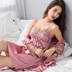 Image 1 - Xifenni ローブセット女性のセクシーなサテンシルクパジャマ女性ナイトガウンセットと胸パッド浴衣赤レースの睡眠のドレス x8206A