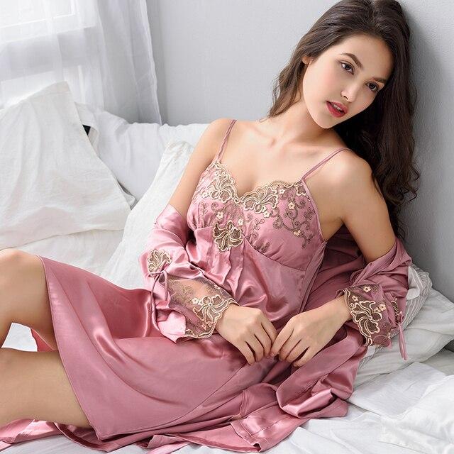 Xifenni ローブセット女性のセクシーなサテンシルクパジャマ女性ナイトガウンセットと胸パッド浴衣赤レースの睡眠のドレス x8206A