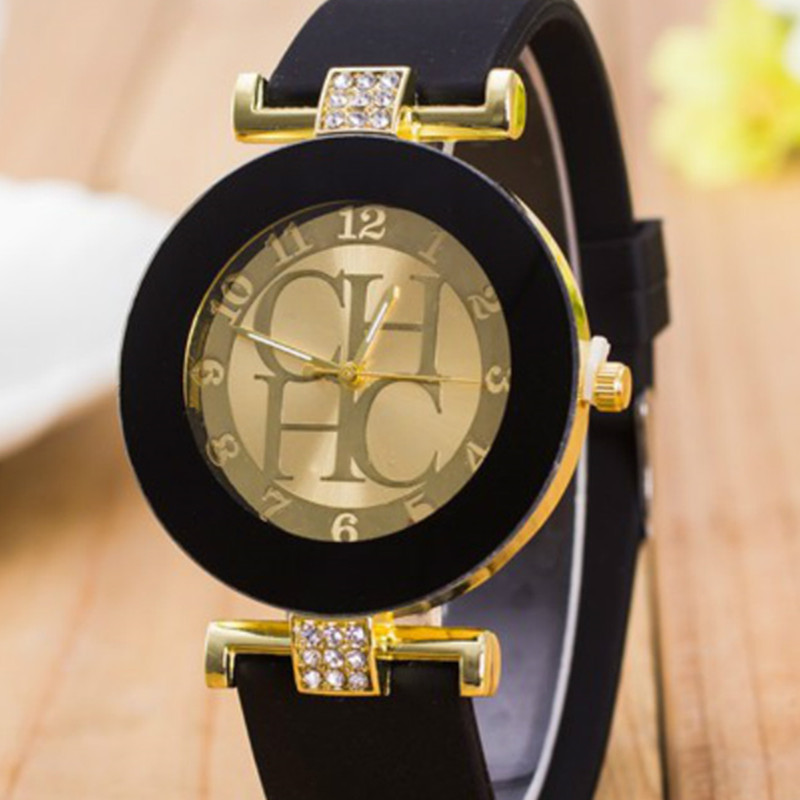 2017 New Fashion Brand Black Geneva Casual H Quartz Watch Women Crystal Silicone Watches Relogio Feminino Dress Wrist Watch Hot geneva casual watch women dress watch 2017 quartz military men silicone watches unisex wristwatch sports watch relogio feminino