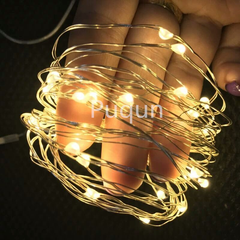 10M 100 led 3 AA Battery Powered Decorative LED Silver Wire Fairy String Lights for Christmas