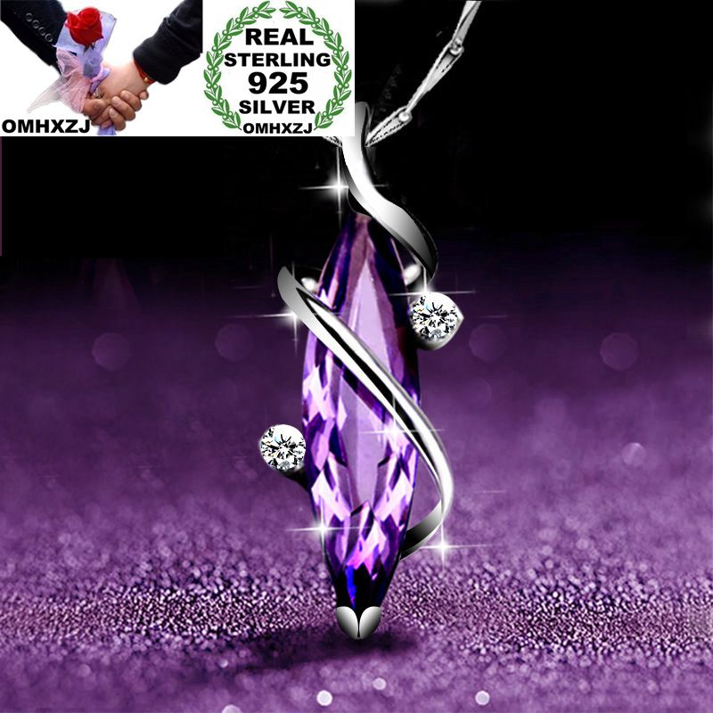 OMHXZJ Wholesale European Fashion Woman Girl Party Gift Amethyst AAA Zircon S925 Sterling Silver Necklace Pendant Charm CA161