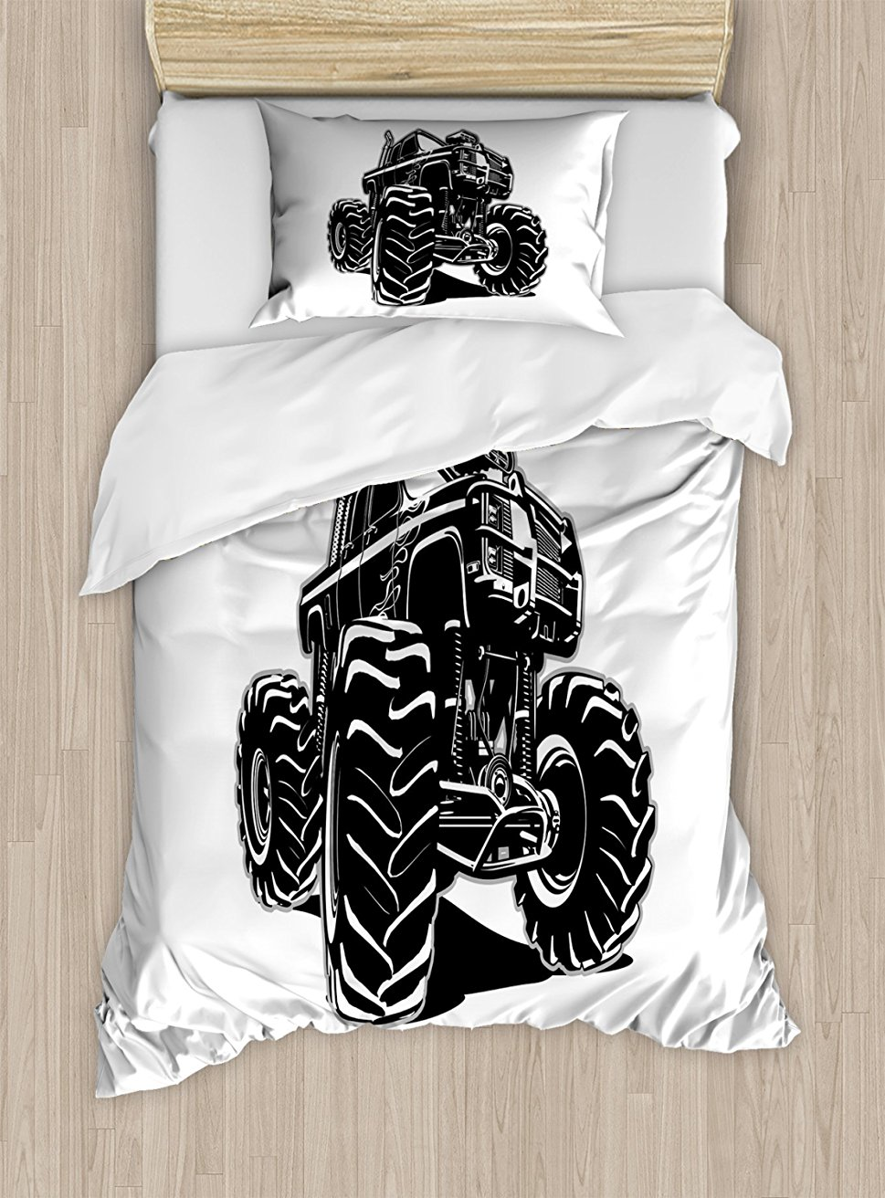 Duvet Cover Set, Modified Automobile Monochrome Sketch Pattern Monster Pickup Truck Off Road Vehicle, 4 Piece Bedding Set