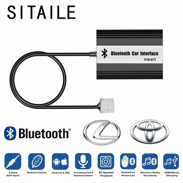 SITAIEL Car Bluetooth A2DP MP3 Music Player Adapter for Toyota Lexus Scion AUX USB Charging Handsfree Bluetooth Car Styling