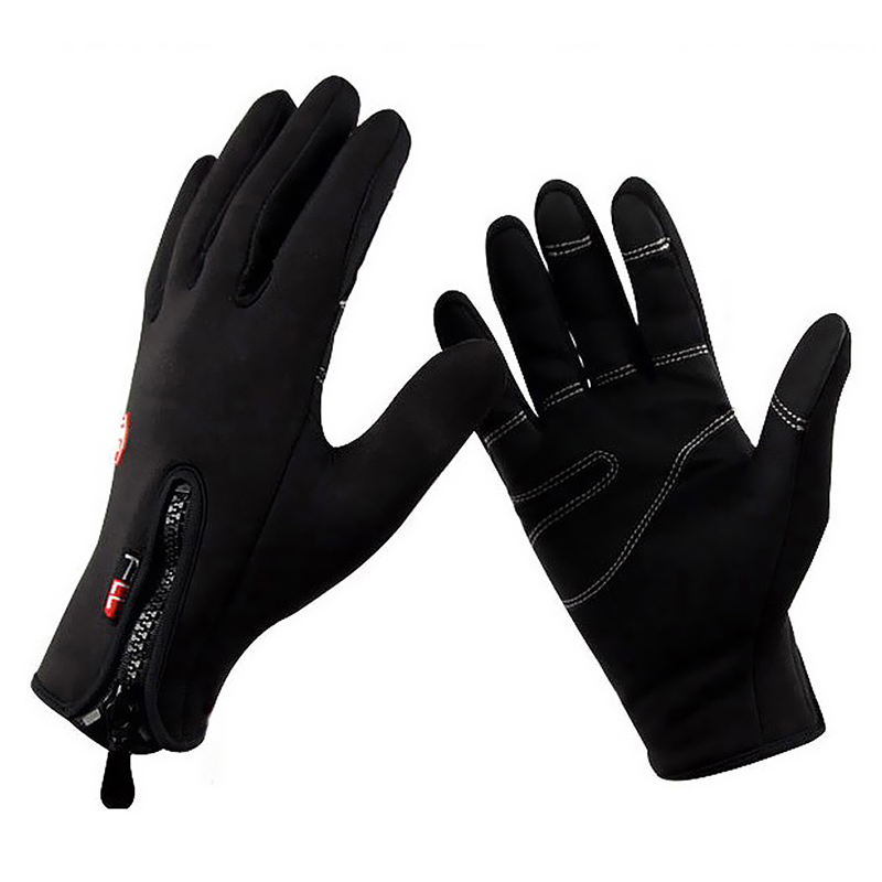 Men Full Finger Windproof Thermal Leather Fleece Glove Outdoor Sports Cycling Hiking Camping Working Safety Protect Wear