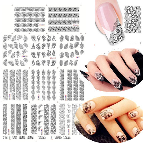 11 Designs In 1 Black Lace Flowers Water Transfer Nail Stickers Decals For Uv Gel Polish