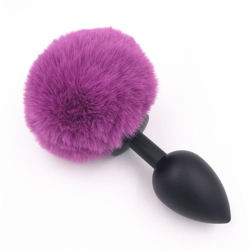 Metal Butt Plug Purple Pompon Rabbit Tail 3 Size Anal Plug -2403