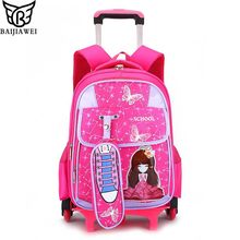 BAIJIAWEI Children 6 Wheels Cartoon Trolley Bags Kids Removable Printing Backpack 8-12 Years Climb Stairs School Book Bags(China)