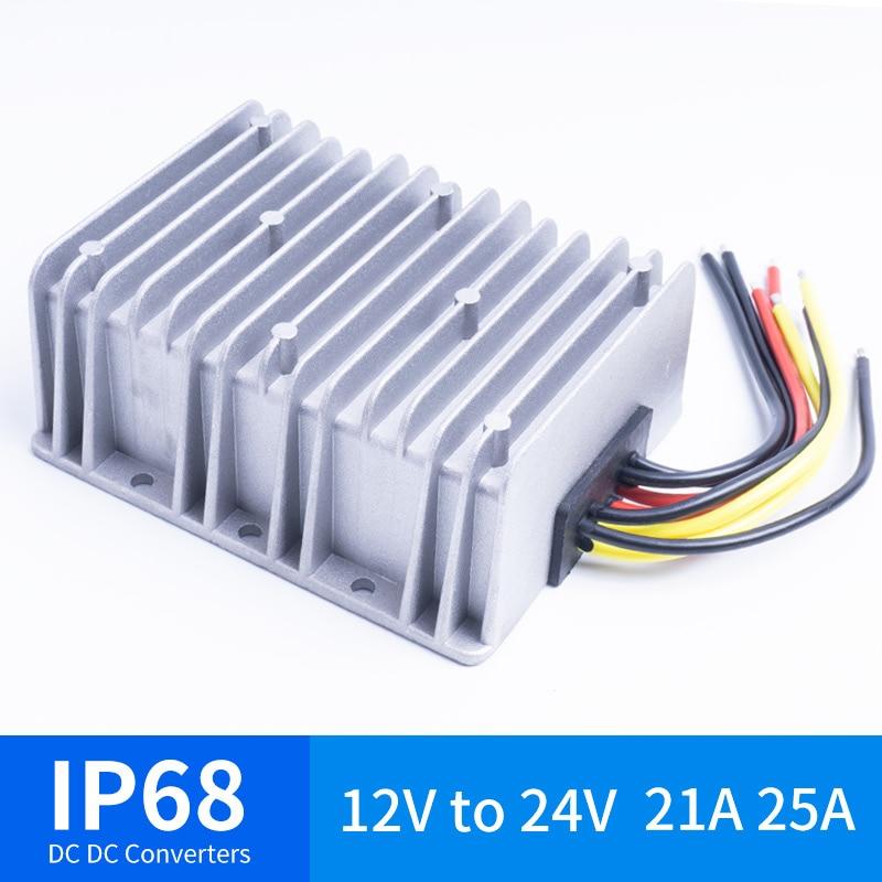12 V À 24 V 21A 25A DC DC convertisseur de tension Étanche IP68 Certifié CE 12VDC à 24VDC 21AMP 12 V 24 V Boost Converter