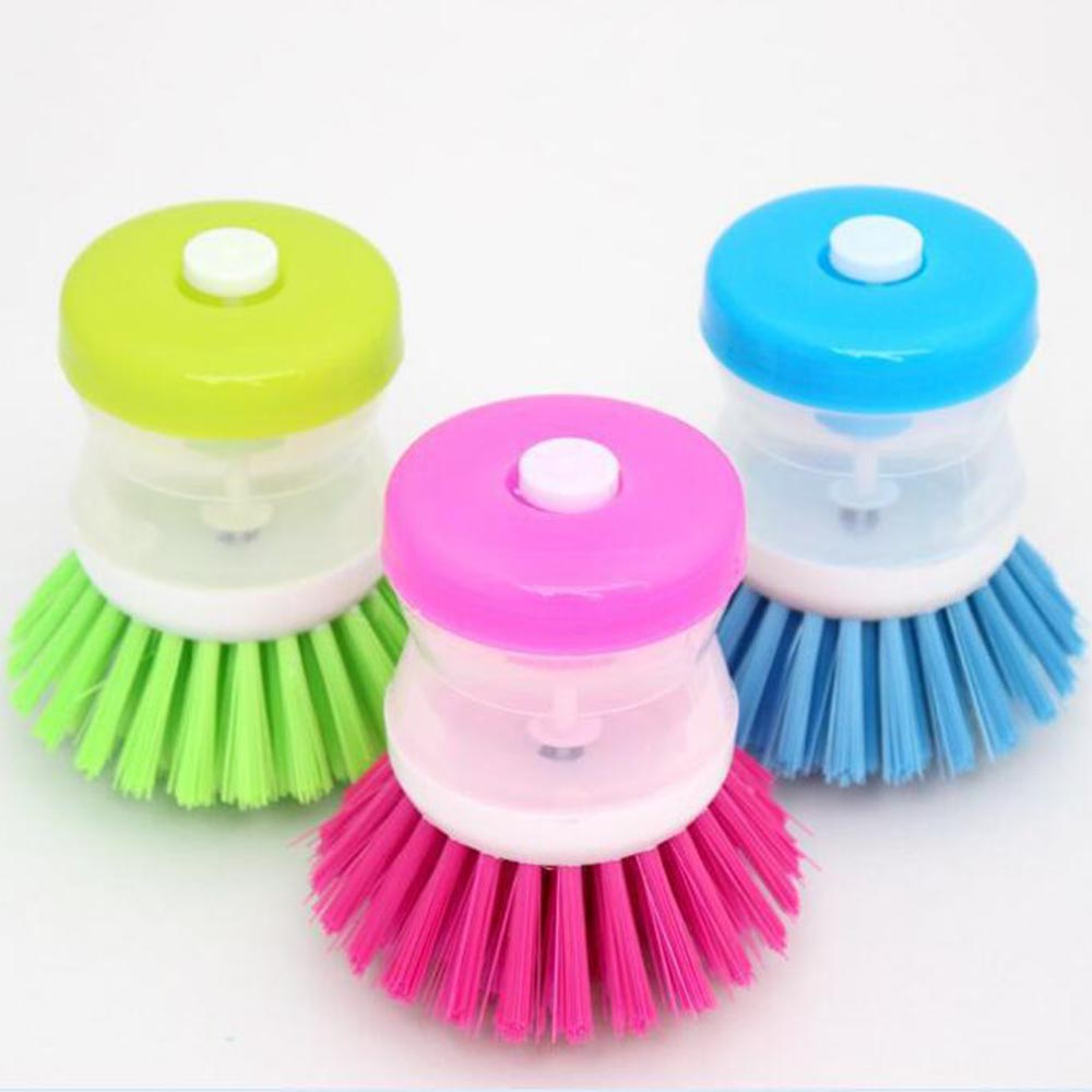 1 Pcs Creative Kitchen Cleaning Brush Wash Pot Brush Plastic Hydraulic Washing Dishes With Refill Liquid Soap Dispenser