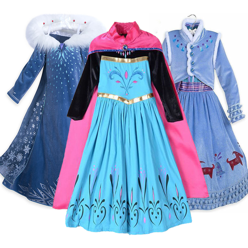 Snow Queen Elsa Anna Dresses for Girls Cosplay Party Birthday Costumes Kids  Girls Dress Princess Elsa Dress Children Clothing 529192e5f86