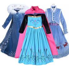 Snow Queen Elsa Anna Dresses for Girls Cosplay Party Birthday Costumes Kids Girls Dress Princess Elsa Dress Children Clothing
